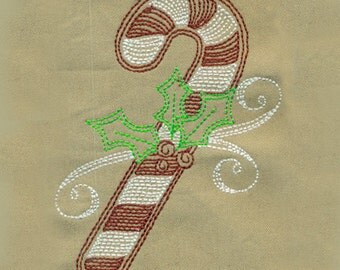 Christmas Candy Cane and Holly Embroidery Design - Instant Digital Download