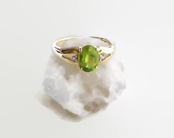 10k Gold Peridot Diamond Accent Ring ~ Size 6.75 ~ Gift for Her ~ August Birthstone 1.4 Carats
