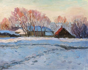 WINTER RURAL LANDSCAPE Original Oil Painting by listed artist N.Peschansky 1970 Impressionist Art, Snow painting, Handmade One of a kind art