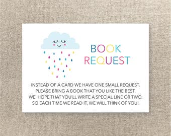 Baby Shower Book Request Card   Instant Download   Rain Shower Book Request    Baby Shower