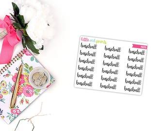 QUARTER SHEET - Baseball Script Planner Stickers for the Erin Condren Life Planner, Script Sticker, Script Planner Sticker - [P0275]