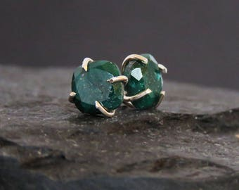 Raw emerald earrings, square rough deep green emerald studs, natural emerald earrings in prong setting, genuine emerald studs