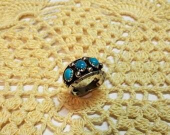 17.8 mm ring Silver 925 nostalgic turquoise handmade SR156