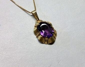 Old vintage pendant gold 333 Amethyst GA132