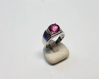 SR714 pink 20 mm ring 925 Silver Crystal stone