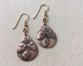 """Copper dangle earrings """"wild strawberry leaves""""."""