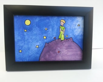 Small The Little Prince Watercolour Painting Hand Painted Antoine de Saint-Exupéry Children/Adult Book Planet Night Sky Stars