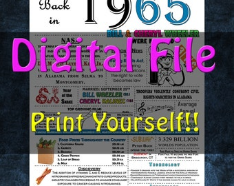 1965 Personalized Anniversary Poster, 1965 History - DIGITAL FILE!!