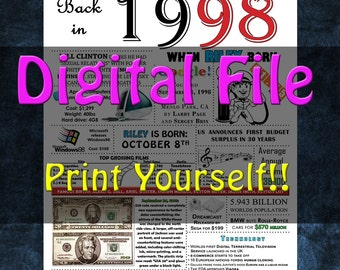 1998 Personalized Birthday Poster, 1998 History - DIGITAL FILE!!