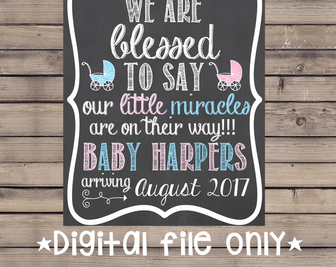 Blessed with Twins Pregnancy Sign / We Are Blessed Pregnancy Sign / Blessed with Twins Pregnancy Reveal / Expecting Twins Pregnancy Reveal