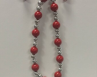 Earring and Bracelet Set - Red and Silver