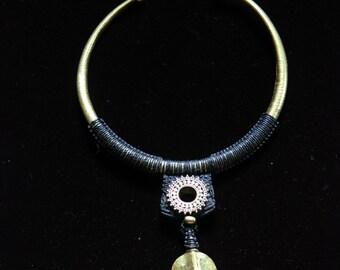 SALES !!!Tribal Torc Leaf - Unique - Design - Boho - Gypsy - Ethnic - Original - Bronze - Travel
