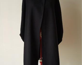 Black oversized long wool cape