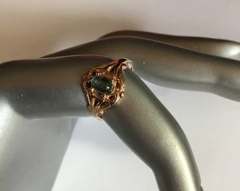 14k Gold rare Green Tourmaline Moonstone Ring Size 5.5
