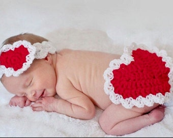 Baby photo prop, First Valentines day photo prop, Valentines Headband, Newborn photo prop, baby shower gift, Heart Photo prop, Baby shower