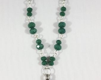 Green Cut Glass Neckalce with Thai Silver Pendant