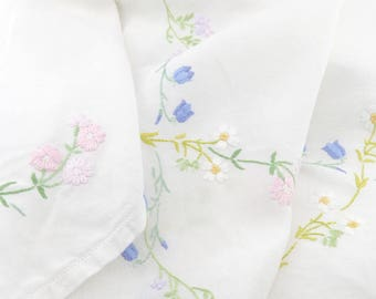 """Vintage Medium Bluebell and Daisy Embroidered Tablecloth - 40.5"""" x 39.5"""" Hand Embroidery - Tea Cloth - Tea Party or Afternoon Tea"""