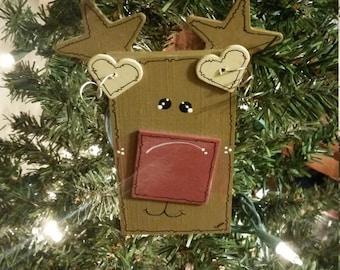 Adorable Wood Reindeer Ornament