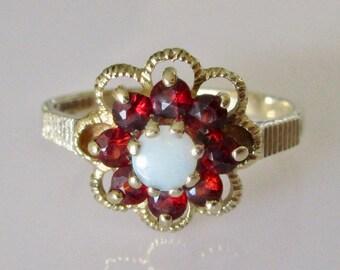 9ct Gold Opal and Garnet Flower Ring Size UK K USA 5 1/8