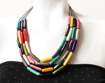 Statement necklace, Tagua necklace, Gift for women, Layered necklace, Boho jewelry, Modern necklace, Chunky necklace, Bold jewelry, Eco