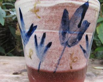 Tumbler, Beaker, Cup, Mug, Hand made, Slipware, Hand painted, Earthenware, Floral design
