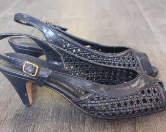 Vintage Navy Woven Peep Toe Sling Back Heels