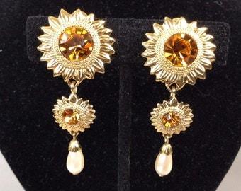 Bob Mackie Sunflower Topaz Rhinestone Faux Pearl Dangle Clip on Earrings