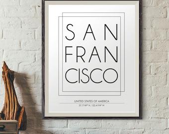 San Francisco Poster, San Francisco City Print, City Names Print, DIGITAL PRINT, City Poster, Modern Wall Decor, City Art, Minimalist Prints