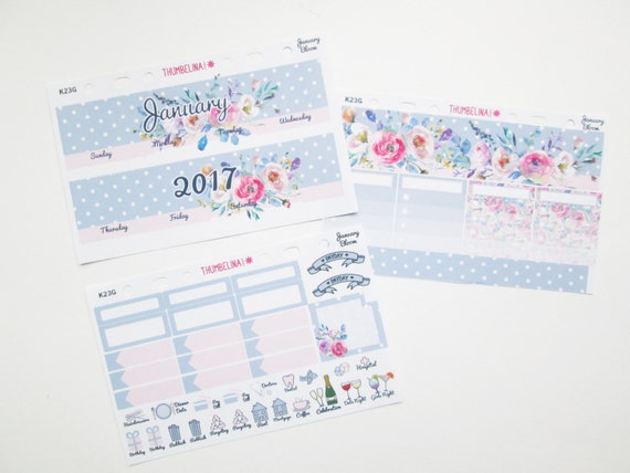 January Blossom Monthly View Planner Stickers for Erin Condren Life Planner (K23G)