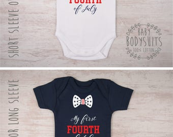My First Fourth Of July Baby Boy Outfit, First 4th Of July Baby Shirt - White or Navy Bodysuit, 4th Of July Outfit, 4th Of July Shirt