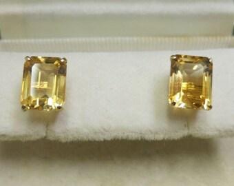 citrine quartz gorgeous yellow gold 14k earings