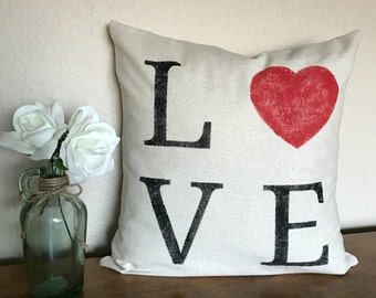LOVE | Heart | Valentine | Rustic Pillow Cover | Farmhouse Pillow | Multiple Sizes Available | Made To Order