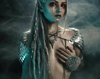 Celestial Headband -  Silver Mirror Scales Scalemail Headdress Head Chain Headpiece Goddess Princess Crown Festival Boho Hippie Faerie Pixie