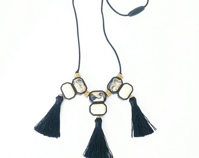 TASSEL FLING NECKLACE// Statement polymer clay necklace// Taupe marble, cream and black tassel bib necklace// gold foil // #SN3037B