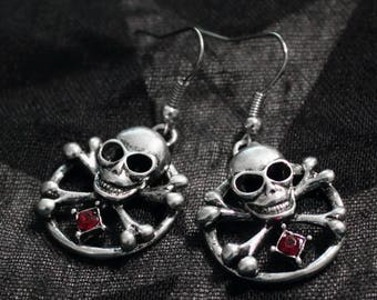 Earrings American ties with skulls in silver and Red rhinestones