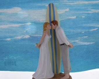 Bride & Groom Wedding Cake Topper / Surf Board Beach Wedding Top /  Beach Wedding Cake Topper /