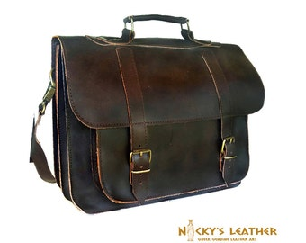 FULL GRAIN LEATHER Bag Briefcase  in Dark Brown color