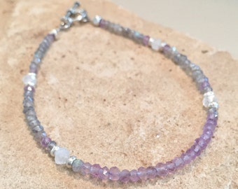 Purple and gray bracelet, labradorite bracelet, amethyst bracelet, moonstone bracelet, gemstone necklace, Hill Tribe silver bracelet