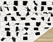 United States Vector, State Clipart, 50 States Clip Art, All States SVG, State PNG  (Design 13757)