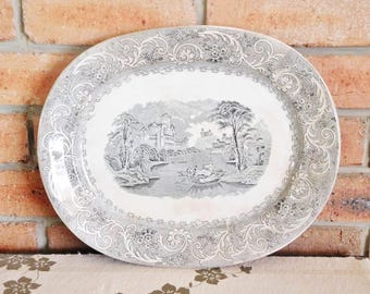 Alfred Fenton & Sons Rhine mid 1800s English transfer printed meat, turkey, serving platter