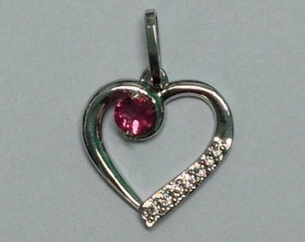 1/5 Pink Tourmaline Heart Pendant in Sterling Silver for Women