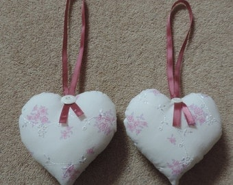 Fabric floral Hanging hearts, Hanging Heart decoration. Mother's Day Gift. Set of 2. Handmade