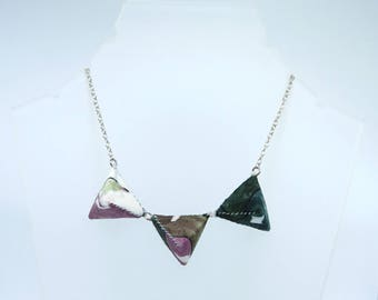 Small Triple Triangle Necklace - Geometric Pink and Green