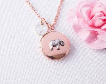 Elephant necklace, elephant locket, rose gold locket,keepsake, Rose gold locket,photo locket, elephant, keepsake gift,  RGPIELEL11