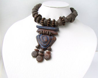 Zulu Necklace, Big Bib Necklace, African Bib Necklaces, Gift Wife Sister, Gift Tribal Necklace, Her Tribal Jewelry, Her Clay Necklace