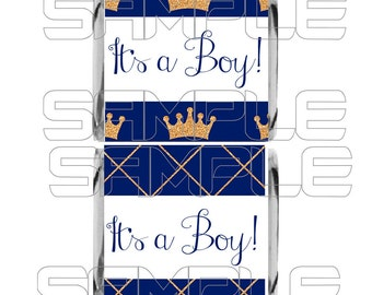 It's a Boy Mini Candy Bar Wrappers, It's a Boy Mini Chocolate Wrappers, Royal Prince Baby Shower, Royal Baby Shower Candy, Royal Blue Baby