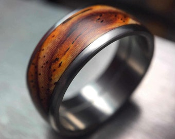 Titanium and Cocobolo Wooden Ring, Waterproof Wedding Band For Men