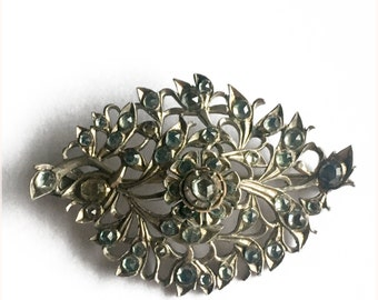Silver And Pale Blue Sapphire Floral Spray Brooch