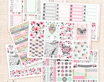 Girly - Planner sticker kit / 6 sheets - Erin Condren, Happy Planner