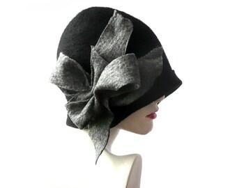 Black Felt hats felted hats Black Hat felt hats Flapper 1920 Hat Art hat black Cloche hats hat 1920's  Wool Women's hat womens hats